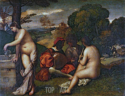 The Pastoral Concert, c.1509 | Titian | Painting Reproduction