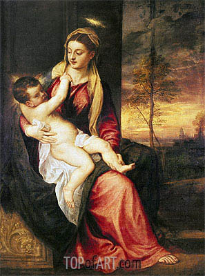 Virgin with Child at Sunset, 1560 | Titian | Gemälde Reproduktion