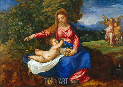 The Virgin and Child in a Landscape with Tobias and the Angel, c.1535/40   Titian   Painting Reproduction