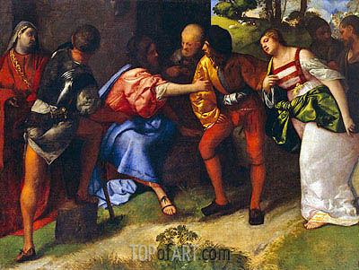 The Adulteress Brought before Christ, Undated   Titian   Painting Reproduction