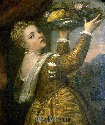 Girl with a Basket of Fruits (Lavinia), c.1555/58 | Titian | Painting Reproduction