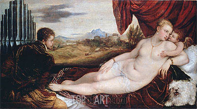 Venus with the Organ Player, c.1550 | Titian | Painting Reproduction