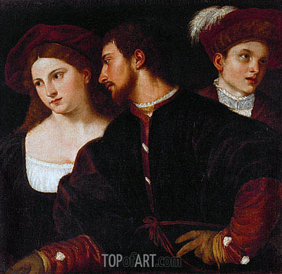 Self Portrait with Friends, undated | Titian | Painting Reproduction