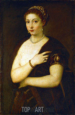 Young Woman with Fur, c.1535 | Titian | Painting Reproduction