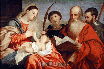 Saint Mary with Child and Saints Stephen, Jerome and Maurice, c.1520 | Titian | Painting Reproduction