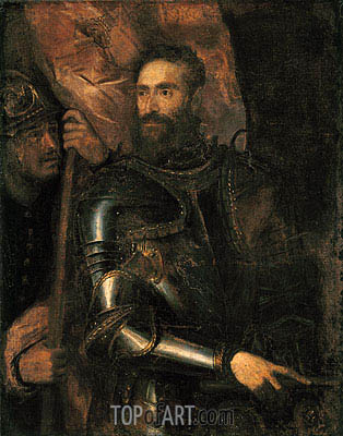 Portrait of Pierluigi Farnese with His Standard Bearer, 1546 | Titian | Painting Reproduction