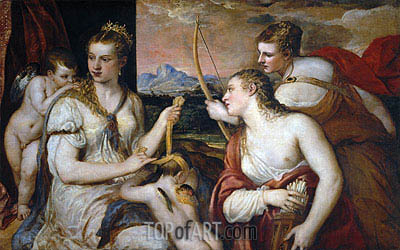 Venus Blindfolding Cupid, c.1565 | Titian | Painting Reproduction