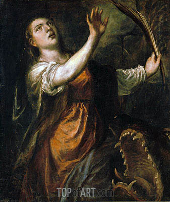Saint Margaret and the Dragon, c.1565/70 | Titian | Painting Reproduction