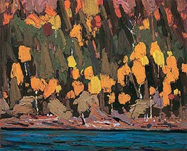 Birches and Cedar, Fall, 1915 by Tom Thomson | Painting Reproduction