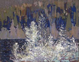 Frost-laden Cedars, Big Cauchon Lake, c.1915/16 by Tom Thomson | Painting Reproduction
