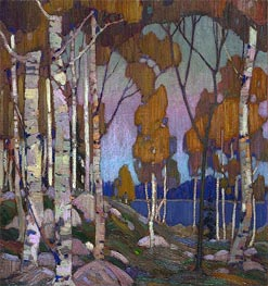 Decorative Landscape: Birches, c.1915/16 by Tom Thomson | Painting Reproduction