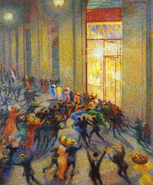 Riot in the Galleria (A Brawl), 1910 by Umberto Boccioni | Painting Reproduction