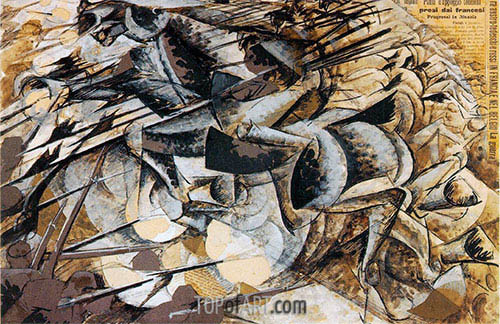 Charge of the Lancers, 1915 | Umberto Boccioni | Painting Reproduction