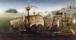Portuguese Carracks off a Rocky Coast, c.1540 by Unknown Master | Painting Reproduction
