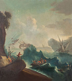 Seascape with Storm and Travelers in a Boat, undated by Unknown Master | Painting Reproduction