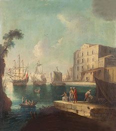 Seascape with Harbour, undated by Unknown Master | Painting Reproduction