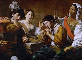 Reunion in a Cabaret, c.1625 by Valentin de Boulogne | Painting Reproduction