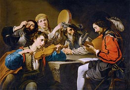 A Musical Gathering, undated by Valentin de Boulogne | Painting Reproduction