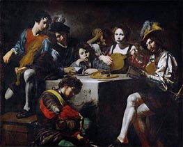 Concert around the Bas-Relief, c.1622/25 by Valentin de Boulogne | Painting Reproduction