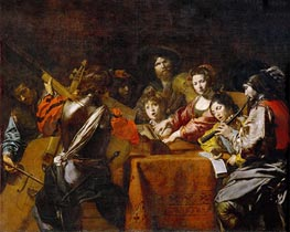 Concert with Eight People, c.1628/30 by Valentin de Boulogne | Painting Reproduction