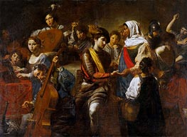 Fortune Teller with Concert Party, 1631 von Valentin de Boulogne | Gemälde-Reproduktion
