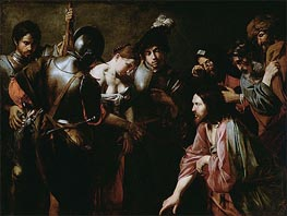 Christ and the Adulteress, c.1620/30 von Valentin de Boulogne | Gemälde-Reproduktion