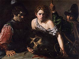 David with the Head of Goliath and Two Soldiers, c.1620/22 by Valentin de Boulogne | Painting Reproduction