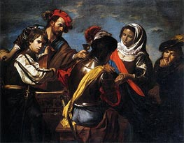 A Fortune Teller, Bravo, Lute Player, Drinking Figure and Pickpocket, c.1618/20 by Valentin de Boulogne | Painting Reproduction