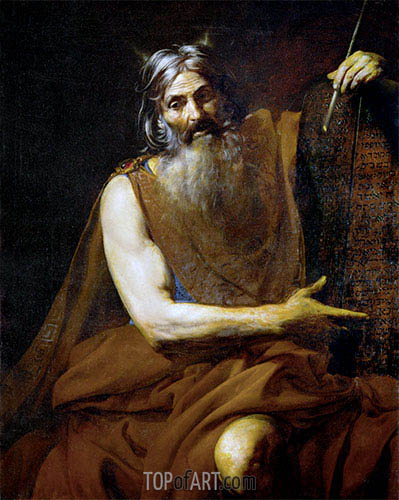 Moses with the Tablets of the Law, c.1627/32 | Valentin de Boulogne | Painting Reproduction