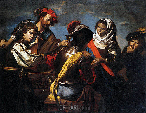 A Fortune Teller, Bravo, Lute Player, Drinking Figure and Pickpocket, c.1618/20 | Valentin de Boulogne | Painting Reproduction