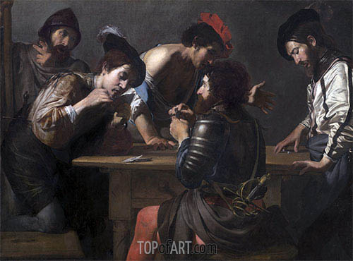 Soldiers Playing Cards and Dice (The Cheats), c.1618/20 | Valentin de Boulogne | Painting Reproduction