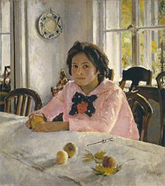 Girl with Peaches, Portrait of Vera Mamontova | Valentin Serov | Painting Reproduction