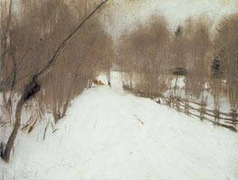 Road in Domotcanovo, Winter, 1904 by Valentin Serov | Painting Reproduction