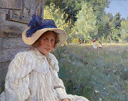 Summertime, Portrait of Olga Serova, 1895 by Valentin Serov | Painting Reproduction