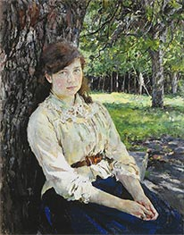 Girl in the Sunlight, Portrait of Maria Simonovich | Valentin Serov | Painting Reproduction