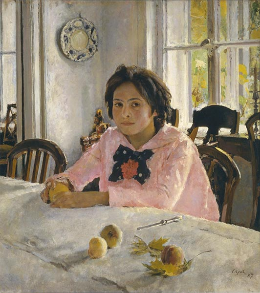 Girl with Peaches, Portrait of Vera Mamontova, 1887 | Valentin Serov | Painting Reproduction