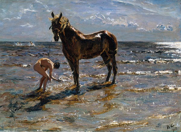 Bathing of a Horse, 1905 | Valentin Serov | Painting Reproduction