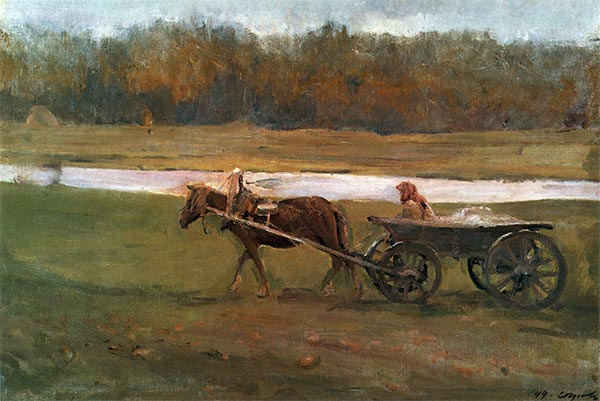 Peasant Woman in a Cart, 1896 | Valentin Serov | Painting Reproduction