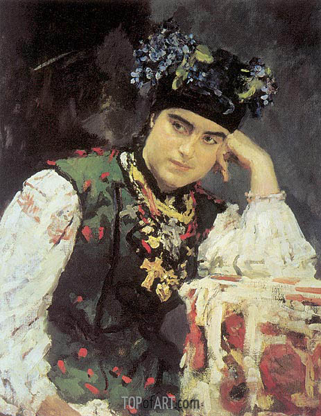 Portrait of Sofia Dragomirova, 1889 | Valentin Serov | Painting Reproduction