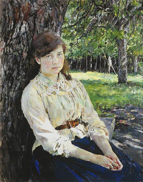 Girl in the Sunlight, Portrait of Maria Simonovich, 1888 | Valentin Serov | Painting Reproduction