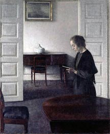 Interior with a Lady Reading, c.1900 von Hammershoi | Gemälde-Reproduktion