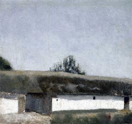 Landscape with Farm | Hammershoi | Gemälde Reproduktion