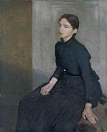 Portrait of a Young Woman. The Artist's Sister Anna | Hammershoi | Painting Reproduction