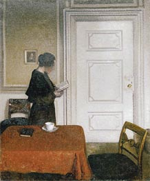 Woman Reading, 1908 von Hammershoi | Gemälde-Reproduktion