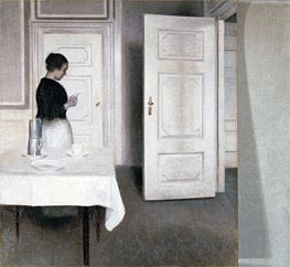 Interior with a Woman Reading a Letter, Strandgade 30 | Hammershoi | Painting Reproduction