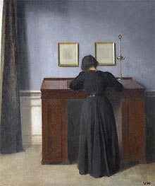 Ida Standing at a Desk, 1900 by Hammershoi | Painting Reproduction