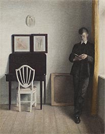 Interior with a Reading Young Man | Hammershoi | Painting Reproduction