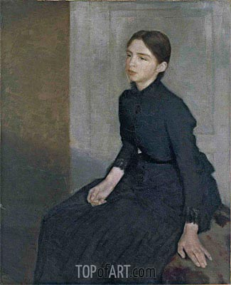 Portrait of a Young Woman. The Artist's Sister Anna, 1885 | Hammershoi | Painting Reproduction