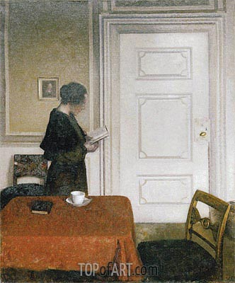 Woman Reading, 1908 | Hammershoi | Painting Reproduction