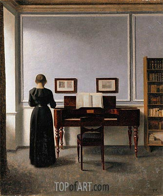 Interior. Living Room with Piano and Woman Dressed in Black, 1901 | Hammershoi | Painting Reproduction